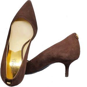 Michael Kors Brown Suede pointed toe kitten heels